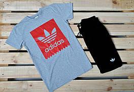 Летний комплект Adidas/ серая футболка/ черные шорты
