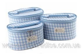 Набор из трёх косметичек овальной формы для хранения голубой