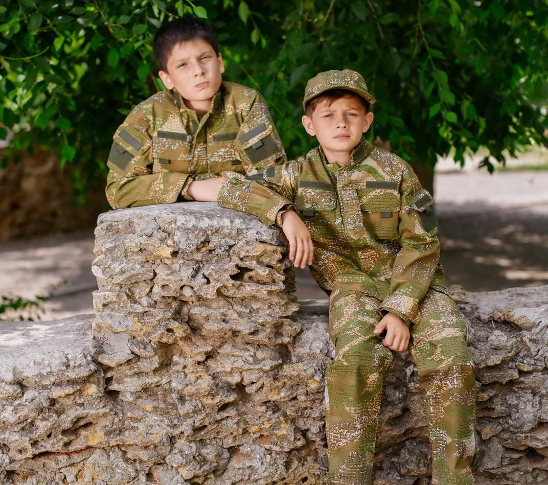 Детский военный костюм для мальчиков Киборг камуфляж ВАРАН