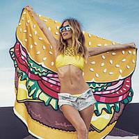 Пляжный коврик с Гамбургером / Подстилка - парео / коврик для пляжа / ковер / пляжный мат