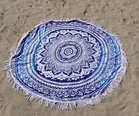 Пляжный коврик мандала, белый + черный / Подстилка - парео / коврик для пляжа / ковер / пляжный мат голубой