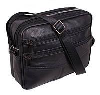 Кожаная мужская сумка через плечо Барсетка 17х20х7см