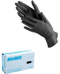"""Перчатки нитриловые черные """"М"""", 100 шт."""