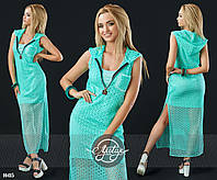 Платье мини с накидкой из макраме ментол