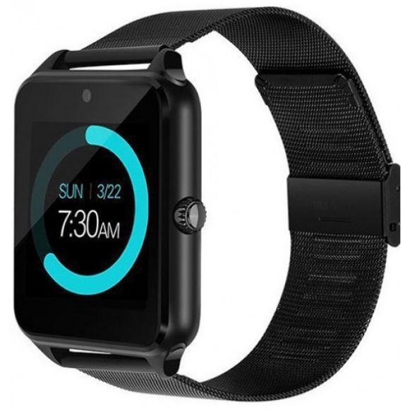 Смарт годинник - розумні годинник телефон Smart Watch Z60 залізний ремінець ЧОРНІ SKU0000775
