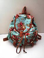 Рюкзак женский городской голубой цветы