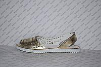 Балетки из натуральной кожи открытый носок и пятка золото перфорация