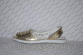 Балетки из натуральной кожи открытый носок и пятка золото перфорация , фото 2