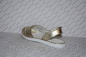 Балетки из натуральной кожи открытый носок и пятка золото перфорация , фото 3