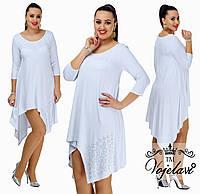Женское стильное белое платье туника. Р-ры от 42-го до 54-го.
