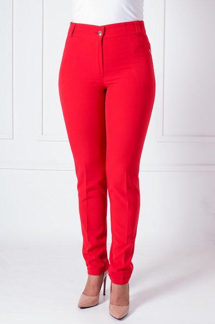 Классические  женские брюки прямого кроя,высокая посадка, увеличенных размеров ярко-красные