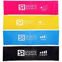 Sports Research, Эластичные Мини-Петли для Фитнеса, 4 Кольцевых Петли