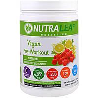 NutraLeaf Nutrition, Порошок для приготовления коктейля перед тренировок, веганский, натуральный малиновый лимонад, 10,15 унций (288 г)