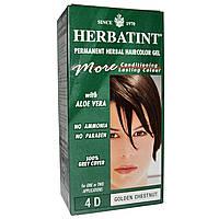Herbatint, Стойкий растительный гель-краска для волос, 4D, золотой каштан, 4,56 жидких унций (135 мл)