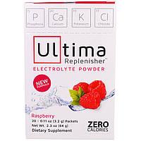 """Ultima Health Products, """"Предельный восполнитель"""", порошок электролитов с малиновым вкусом, 20 пакетиков по 0,11 унции (3,2 г)"""