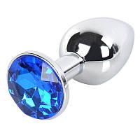 Анальная металлическая  пробка с кристаллом + чехол.Анальная стимуляция. Синяя.