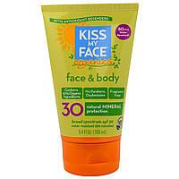 Kiss My Face, Органический минеральный солнцезащитный крем для лица и тела, SPF 30, 3,4 жидкой унции (100 мл)