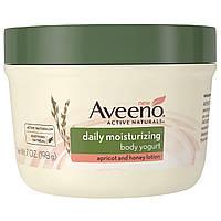 """Aveeno, """"Природные активные компоненты"""", увлажняющий йогурт для тела, для ежедневного использования, абрикосово-медовый лосьон, 7 жидких унций (198 г)"""