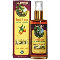 Badger Company, Ароматерапия, массажное масло, сладкий апельсин с лимоном и мятой 4 жидких унции (118 мл)