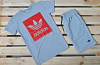 Летний комплект Adidas серая футболка серые шорты