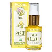 Badger Company, Аргановое масло для лица, для всех типов кожи, 1 жидкая унция (29,5 мл)