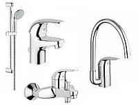 GROHE Euroeco 123242K (232620000+32743000+27598000+32752000) Набор смесителей для ванной + кухня