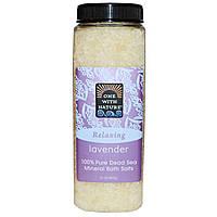 One with Nature, Минеральная соль Мертвого моря для ванн, лаванда, 907 г (32 унции)