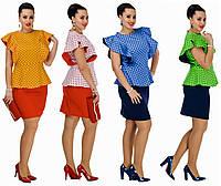 Летний, яркий женский костюм в горошек. 4 цвета. Р-ры: 48, 50, 52, 54.