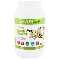 NutraLeaf Nutrition, Веганский протеин + суперпища, натуральная французская ваниль, 1005 г (35,4 унций)