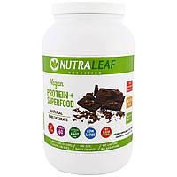 NutraLeaf Nutrition, Веганский протеин + суперпища, натуральный темный шоколад, 1005 г (35,4 унции)