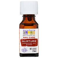 Aura Cacia, Средство для ухода за ногтями, смесь эфирных масел, питание, 0,5 жидких унций (15 мл)