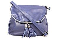 Итальянская кожаная сумка-мессенджер, малая BIM008 синий