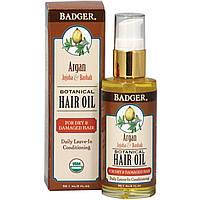 Badger Company, Ботаническое масло для волос Аргана, масло жожоба и баобаб, 2 жидкие унции (59,1 мл)