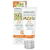 Andalou Naturals, Косметический бальзам, ненасыщенный тон с фактором солнечной защиты SPF 30, отбеливающий, 2 жидких унций (58 мл)