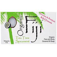 Organic Fiji, Органическое кокосовое мыло для лица и тела, чайное дерево и мята, 198 г