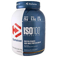 Dymatize Nutrition, ISO 100 Гидролизованный, 100% изолят сывороточного протеина, шоколадный кокос, 1,4 кг (48 унций)