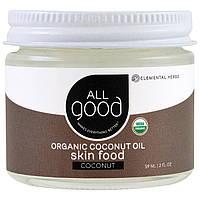 All Good Products, Органическое кокосовое масло, Питание кожи, Кокос, 59 мл (2 fl oz)