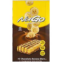 NuGo Nutrition, Пища на ходу, шоколадные банановые батончики, 15 протеиновых батончиков, 50 г (1.76 унции) каждый