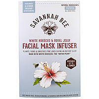 Savannah Bee Company Inc, Facial Mask Infuser, White Hibiscus & Royal Jelly, 1 Reusable Mask