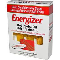 Hobe Labs, Energizer, лечение волос горячим маслом жожоба, 3 тюбика с повторно закрывающейся крышкой, 14,8 мл каждый