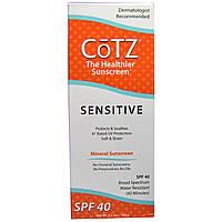 Cotz, Более полезный для здоровья солнцезащитный крем, для чувствительной кожи, фактор защиты SPF 40, 3,5 унции (100 г)