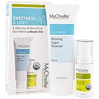 MyChelle Dermaceuticals, Органический набор для свежести и легкости, обновляющее средство для чистки кожи с сахаром, продвинутое аргановое масло, 2