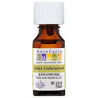 Aura Cacia, На 100% чистое эфирное масло, древесина атласского кедра, 0,5 жидк. унц. (15 мл)