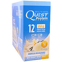 Quest Nutrition, Protein Powder, Vanilla Milkshake, 12 Pouches, 0.99 oz (28 g) Each