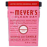 Mrs. Meyers Clean Day, Ароматические соевые свечи, выпущенные ограниченным тиражом, с ароматом перечной мяты, 4,9 унции (140 г)