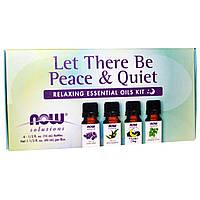 Now Foods, Let There Be Peace & Quiet, набор расслабляющих эфирных масел, 4 бутылочки, 1/3 жидкой унции (10 мл) каждая