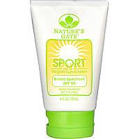 Nature's Gate, Спортивный солнцезащитный лосьон для веганов, SPF 50, без запаха (118 мл)