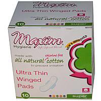 Maxim Hygiene Products, Ультра-тонкие прокладки с крылышками, супер, без запаха, 10 прокладок