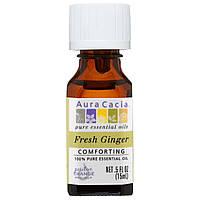 Aura Cacia, На 100% чистое эфирное масло, свежий имбирь, 0,5 жидк. унции (15 мл)