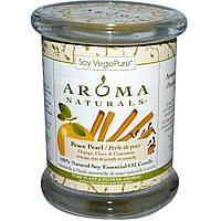 Aroma Naturals, 100% Натуральная Соевая Свеча «Умиротворение» с Эфирными Маслами Апельсина, Гвоздики и Корицы, 8.8 унций (260 г)